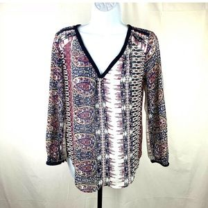 Lucky Brand Live In Love Blouse Small Long Sleeve